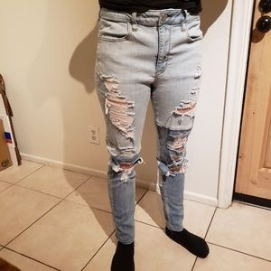 American Eagle tattered two tone jeans